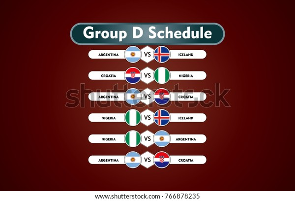 World Cup Russia 2018 Match Schedule Stock Vector (Royalty