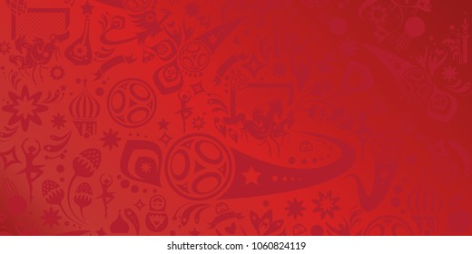 World Cup Soccer competition red banner concept design abstract pattern, russian flag, sport elements, goal, soccer ball, award cup football icons, soccer players, football, vector template print card