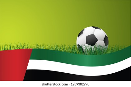 World cup uae Vector eps Soccer banner wave background green grass field football sport ball vector banner poster wave wallpaper EK WK Europees play model Arabische Emiraten Aziatisch Asian flag 2019