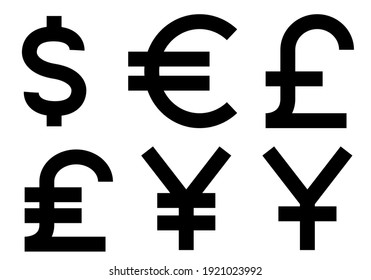 World currencies black and white vector