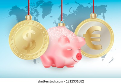 World currencies Dollar, Euro and Bauble cute chinese new year symbol pig on red ribbons on blue world map background. Conceptual Realistic vector illustration