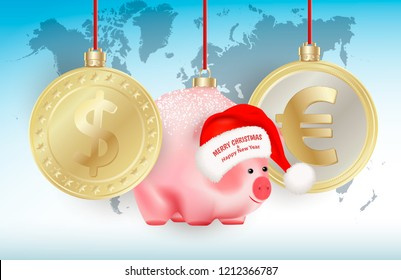 World currencies Dollar, Euro and Bauble chinese new year symbol pig on ribbons on world map background. Merry Christmas and Happy New Year congratulation on Santa Claus hat. Vector illustration