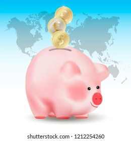 World currencies Dollar, Euro and Pound sterling golden coins falling into money pig bank. Conceptual realistic vector illustration on blue background with world map.