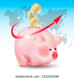 World currencies Dollar, Euro and Pound sterling golden coins falling into money pig bank. Conceptual realistic vector illustration on blue background with world map and red arrow.