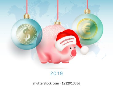 World currencies Dollar, Euro in transparent Baubles and chinese symbol pig on ribbons on world blue map background. Merry Christmas and Happy New Year greetings on Santa Claus hat. Vector