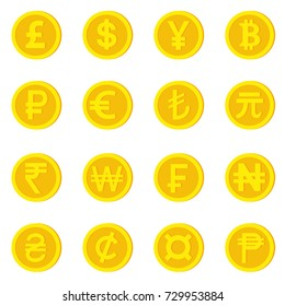 World currency icons. Money and currency symbol. pound, dollar, yuan, bitcoin, ruble, euro, lira, yuan renminbi, indian rupee, korean won, swiss franc, naira, hryvnia, cilon, currency sign, pesos