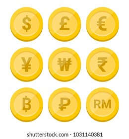 World currency symbol and coins set - Vector