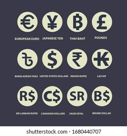 World currency symbol and coins set