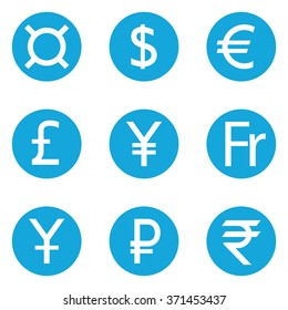 World Currency symbols flat solid icons isolated on white background. Dollar, Euro, Pound Sterling, Yen, Yuan, Swiss frank, Ruble, Rupee, Generic currency symbol, Money. Vector illustration