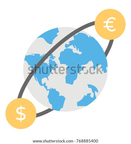 World Currency Currency Symbols Moving Around Stock Vector Royalty