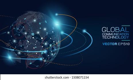 World data connecting network and communications concept with map dots and mesh on background. Abstract global telecommunication and data signal connection. Vector illustration