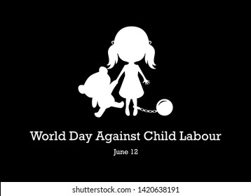 World Day Against Child Labour vector. Children worker vector illustration. Little girl with bear silhouette vector. Abused little girl icon. Important day