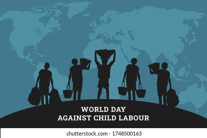 World day against child labour background with world map and children in black silhouette. Flat style illustration concept of child abuse and exploitation campaign for poster and banner.