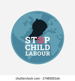 World day against child labour background with globe and a child in black silhouette profile. Flat style logo illustration concept of child abuse and exploitation campaign for poster and banner.