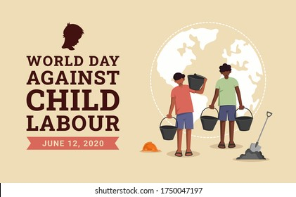 World day against child labour background with children working in a construction field. Flat style vector illustration concept of child exploitation campaign for poster and banner.