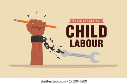 World day against child labour background with child's hand holding a pencil and breaking handcuff chain. Flat style vector illustration concept of child exploitation campaign for poster and banner.