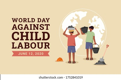 World day against child labour background with children working in a construction field. Flat style vector illustration concept of anti child exploitation campaign for poster and banner.