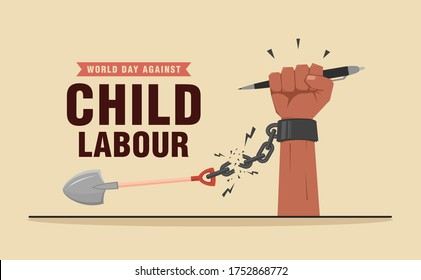 World day against child labour background with child's hand holding a pen and breaking handcuff chain. Flat style vector illustration concept of anti child exploitation for poster and banner.