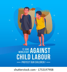 World Day Against Child Labour Concept With Child Carry Bamboo Bags