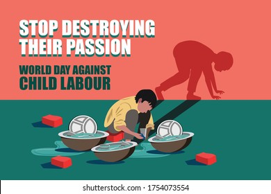 World day against child labour, Child labour in India,Stop child labour, Child worker washing utensils, shadow of  his dream as athlete in running position.