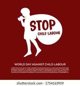 world day against child labour red poster, child carrying heavy load on back, stop child labour
