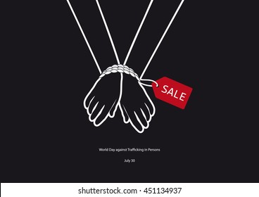 World Day against Trafficking in Persons vector. Black and white vector illustration. Tied hands. Important day