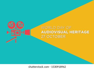 World Day For Audio Visual heritage with Classic Vintage Camcorder (old movie Camera) icon vector  - Vector