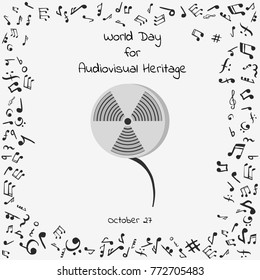 world day for audiovisual heritage. Vector illustration