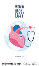 World Day of cardiovascular disease prevention and heart health poster or placard background, flat vector illustration. Banner template for world heart day.