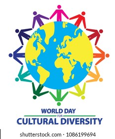 world day for cultural diversity with colorful people hand to hand around the earth