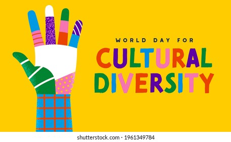 World Day for Cultural Diversity greeting card illustration of colorful diverse people hand. Social community help concept. Different culture holiday event on 21 may. - Shutterstock ID 1961349784