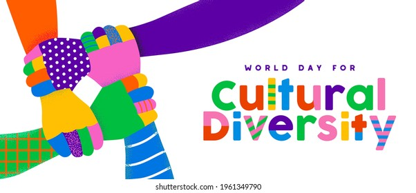 World Day for Cultural Diversity greeting card illustration of colorful people hands holding arms together, friendship support concept. Different ethnic group united, may 21 holiday design. - Shutterstock ID 1961349790