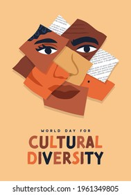 World Day for Cultural Diversity greeting card illustration of diverse people faces paper collage. Man and woman culture identity concept. Social holiday event on 21 may.