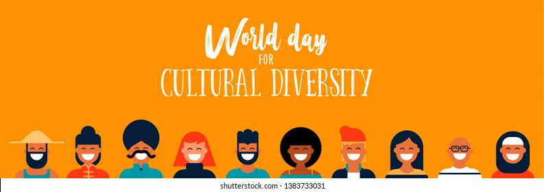 World Day for Cultural Diversity web banner illustration of diverse ethnic people icons. Social help and peace concept.