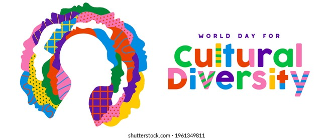 World Day for Cultural Diversity web banner illustration of colorful diverse people faces together. Man and woman culture identity concept. Social holiday event on 21 may.