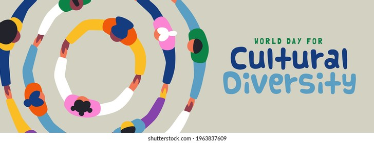 World Day for Cultural Diversity web banner illustration of colorful diverse people group holding hands together in big round circle. Different culture friend team concept, may 21 holiday. - Shutterstock ID 1963837609