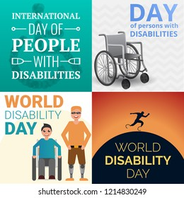 World day persons disabilities banner set. Cartoon illustration of world day persons disabilities vector banner set for web design
