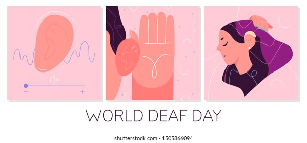 World Deaf Day in last Sunday of September concept. Health care vector illustration.