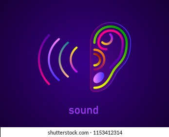 World Deaf Hearing Day. Ear. Hearing or listening loss. Ear canal. Futuristic innovation medical center aid prevention awareness vector illustration poster. Sound waves. Music online. Ear care