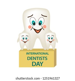 World Dental Day. International Dentist Day. A tooth with a smile embraces two small teeth. Adult tooth with their children. Cartoon style. Vector illustration on isolated background.