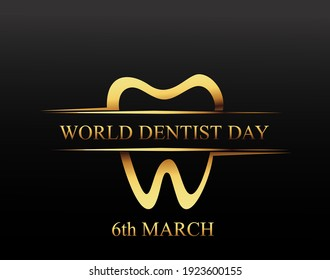 World Dentist Day.  6 march  dentist` day. Dentistry background with clean  tooth, Vector illustration