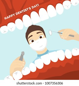 World dentist day. Man doctor looking into the mouth with teeth.