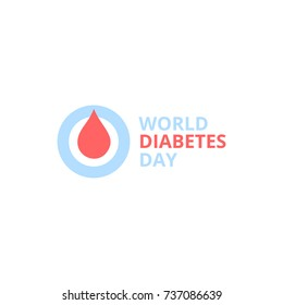 World diabetes day, abstract vector logo. Red blood drop in a blue round frame. Diabete medical symbol.