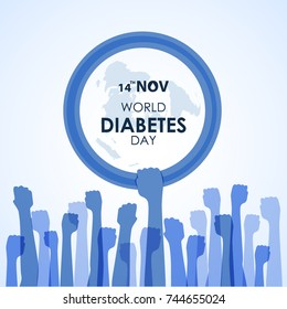 World Diabetes Day Awareness with blue Hand hold hand circle blue ring sign and Hands sign vector  illustration  design
