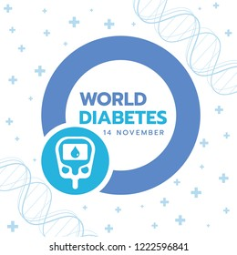 World Diabetes Day banner with Blue circle sign and  Blood Sugar Test sign on cross plus and dna background vector design