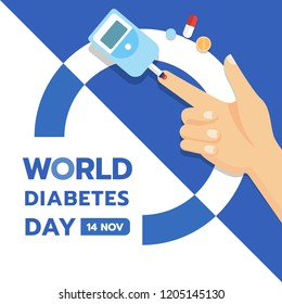 World Diabetes Day banner with hand and Blood Sugar Test and Pill vector design