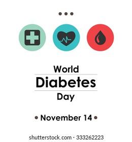 World Diabetes Day, November 14. Vector illustration for card, poster or banner