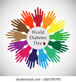 World Diabetes Day, the primary global awareness campaign on diabetes mellitus which is held on November 14, Concept of join hands for cure  diabetes.