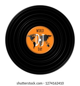 World DJ day - March 9. Vinyl record with world map and text inside of it. White background. Vector illustration.