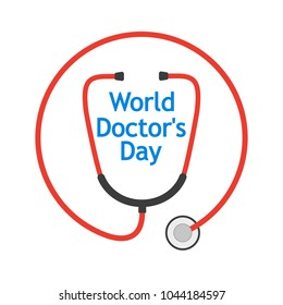 World Doctor's Day, logo with stethoscope in a flat design. Vector illustration.